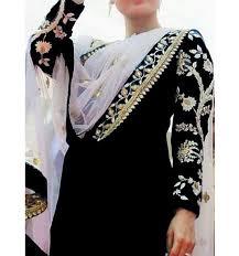 Embroidered Chiffon Black Dress (Unstitched ) in pakistan sanwarna.pk