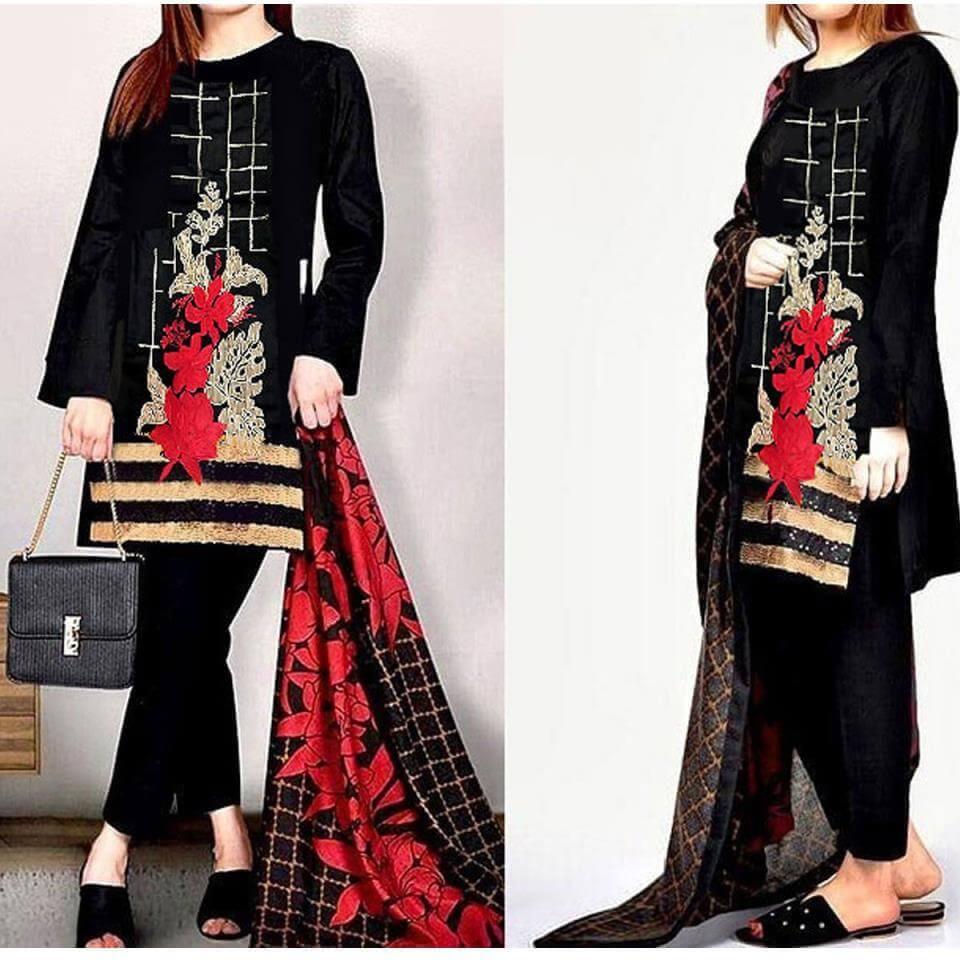 Embroidered Black Lawn Dress with Chiffon Dupatta UnStitched in pakistan sanwarna.pk