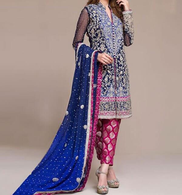 Embroidered Navy Blue Chiffon Wedding Dress Price in pakistan sanwarna.pk