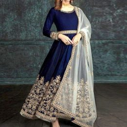 Indian Embroidered Navy Blue Chiffon Maxi Unstitched in pakistan sanwarna.pk