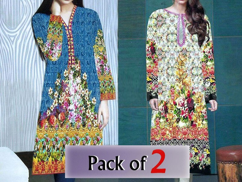 Pack of 2 Stitched Digital Kurti of Your Choice Price in pakistan sanwarna.pk