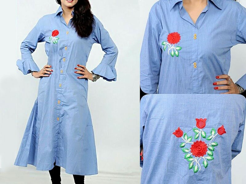 flower embroidered shirt in pakistan sanwarna.pk