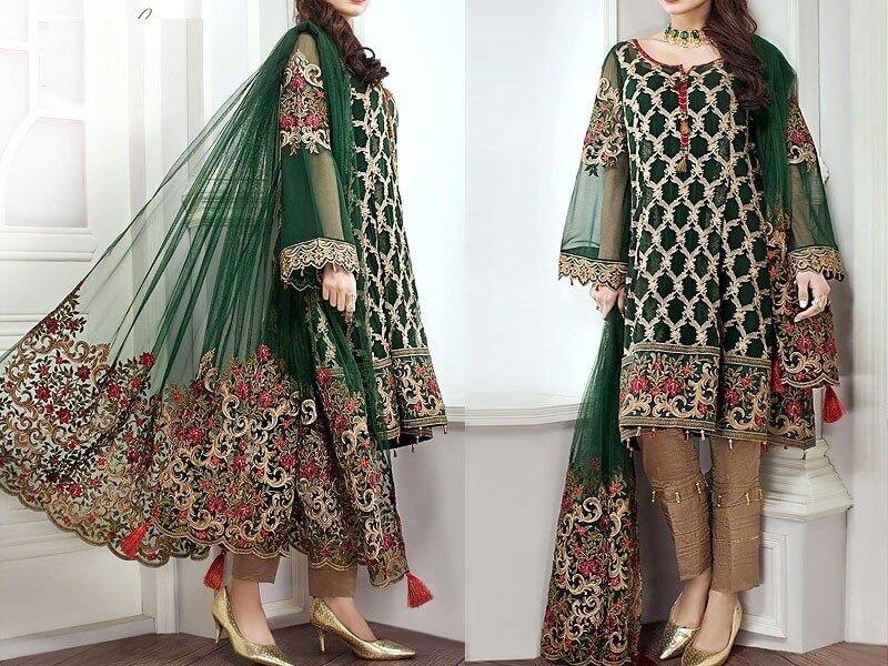 chiffon embroidered suits in pakistan sanwarna.pk