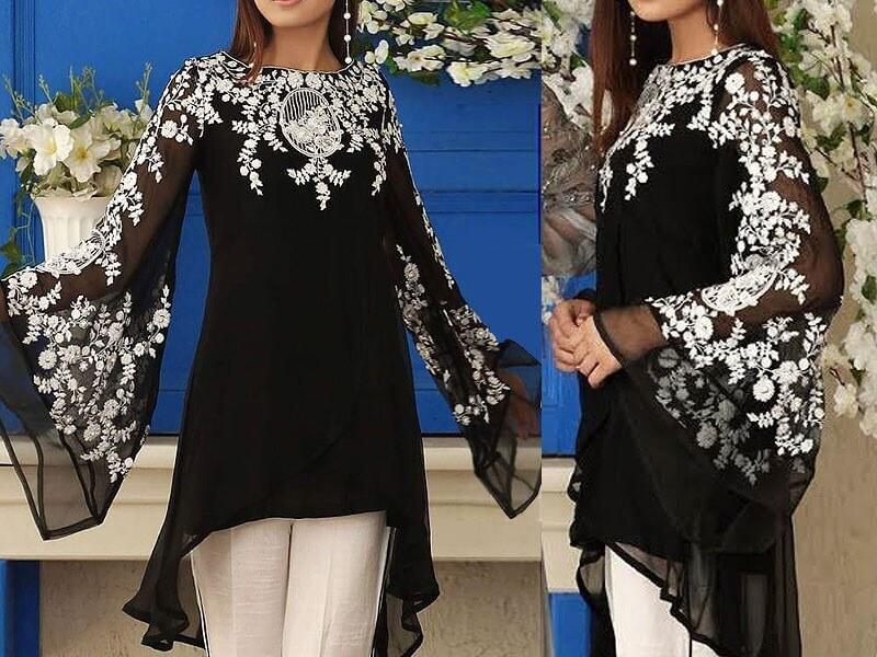 Unstitched Embroidered Chiffon Black Kurti with Inner in pakistan sanwarna.pk