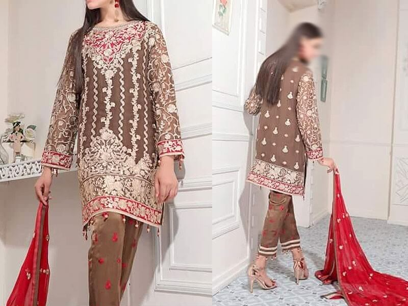 Embroidered Chiffon Dress Embroidered Trouser in pakistan sanwarna.pk