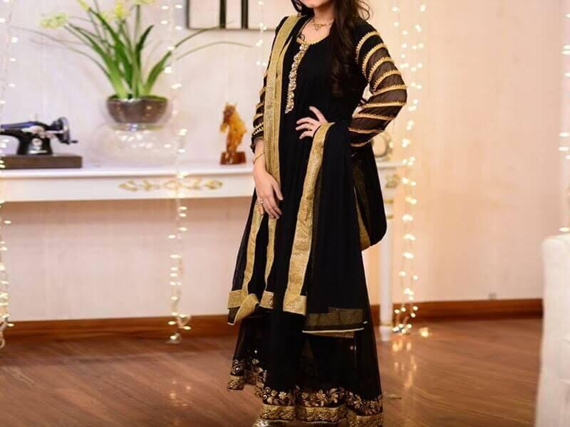 indian embroidered chiffon maxi dress in pakistan sanwarna.pk