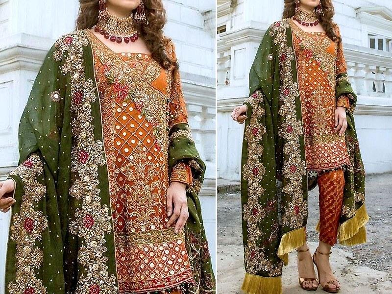 Embroidered Chiffon Bridal Dress UnStitched in pakistan sanwarna.pk