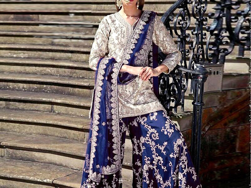 Embroidered Chiffon Dress with Embroidered Silk Trouser in pakistan sanwarna.pk