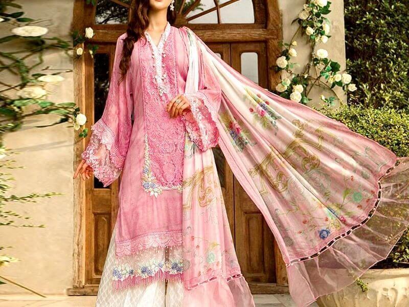 Luxury Embroidered Lawn Dress with Chiffon Dupatta in pakistan sanwarna.pk