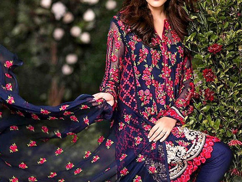 Designer Embroidered Blue Chiffon Dress in pakistan sanwarna.pk