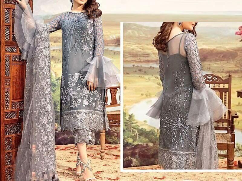 Heavy Embroidered Grey Net Wedding Dress in pakistan sanwarna.pk