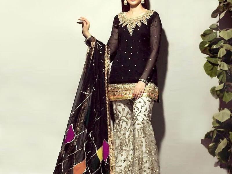 Embroidered Black Chiffon Suit with Embroidered Silk Trouser in pakistan sanwarna.pk