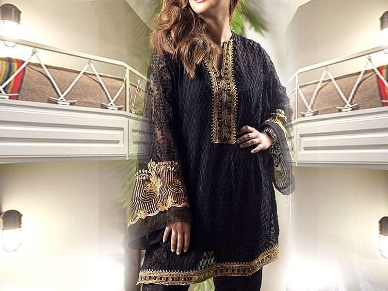 Embroidered Black Chiffon Kurti with Inner Price in Pakistan sanwarna.pk