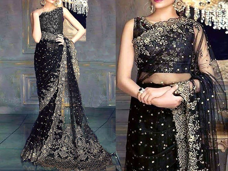 Designer Embroidered Black Chiffon Saree Price in pakistan sanwarna.pk