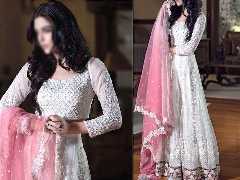 Elegant Embroidered Net Maxi Dress with Net Dupatta & Inner in pakistan sanwarna.pk
