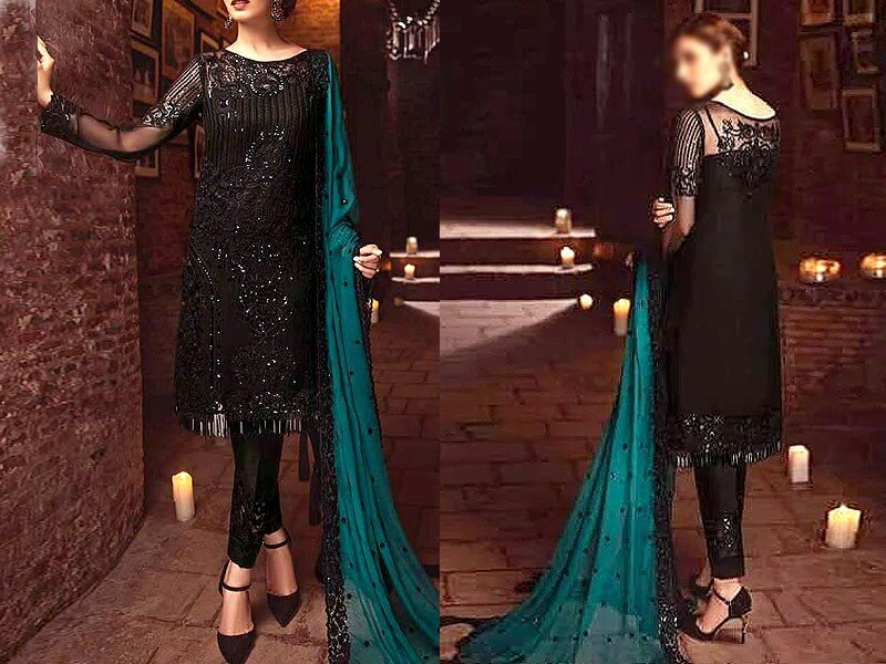 Elegant Embroidered Black Chiffon Dress Price in Pakistan sanwarna.pk