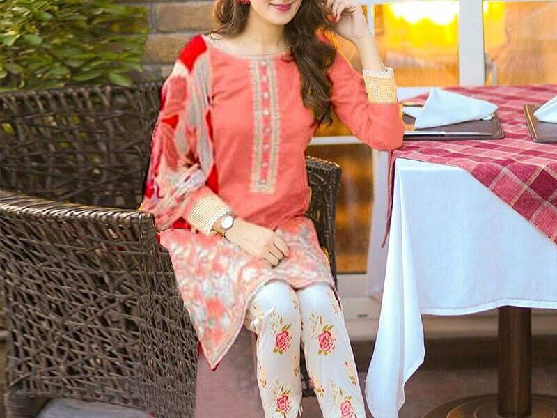 2-Pcs Sequins Embroidered Lawn Dress in pakistan sanwarna.pk