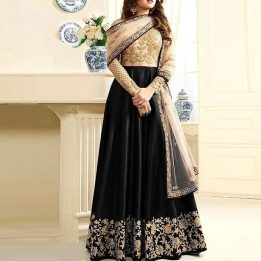 Indian Embroidered Black Chiffon Maxi Unstitched in pakistan sanwarna.pk