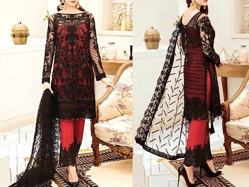 Embroidered Black Net Dress with Inner Price in Pakistan sanwarna.pk