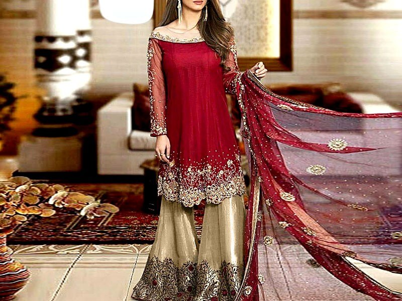 Embroidered Chiffon Dress with Silk Trouser Price in Pakistan sanwarna.pk