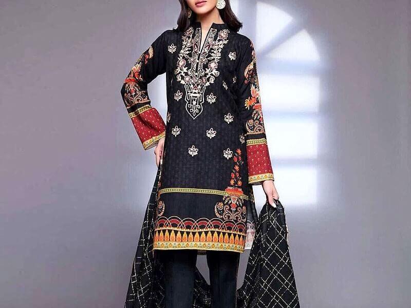 Elegant Embroidered Lawn Dress with Chiffon Dupatta Price in pakistan sanwarna.pk