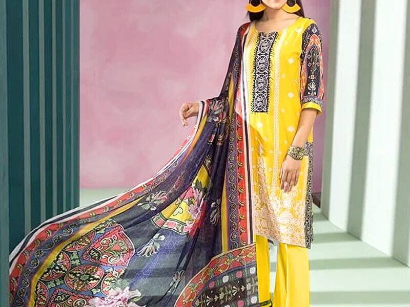 Elegant Neck Embroidered Lawn Eid Dress in pakistan sanwarna.pk