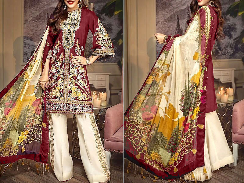 Heavy Neck Embroidered Lawn Dress 2020 with Lawn Dupatta in pakistan sanwarna.pk