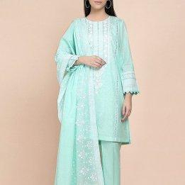 Embroidered Lawn Dress With Chiffon Dupatta in pakistan sanwarna.pk
