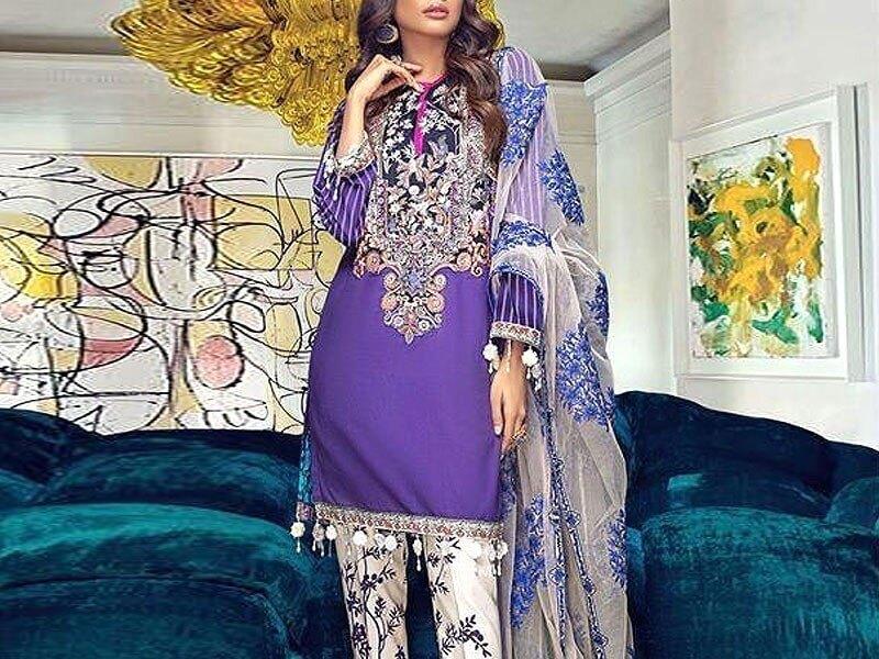 Embroidered Airjet Lawn Dress with Chiffon Dupatta Price in pakistan sanwarna.pk