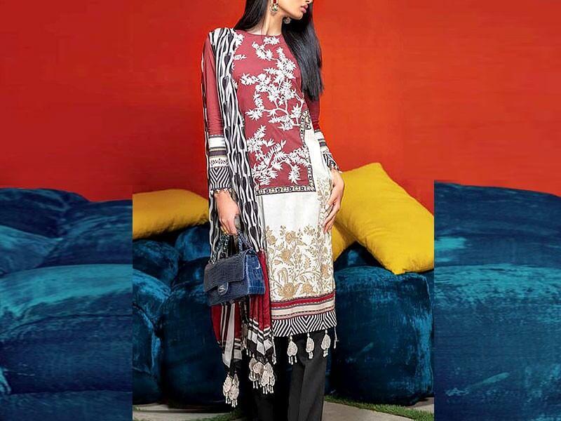 Embroidered Airjet Lawn Dress with Chiffon Dupatta in pakistan sanwarna.pk