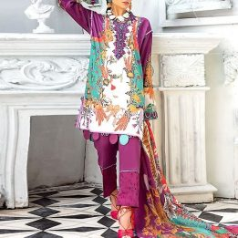 embroidered lawn suits with chiffon dupatta in pakistan sanwarna.pk