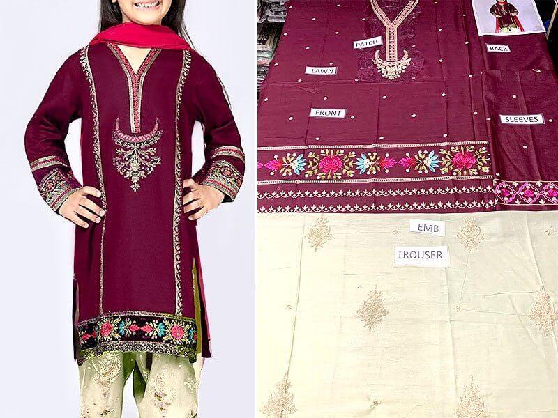 Kids 2-Pcs Embroidered Lawn Dress 2020 Price in pakistan sanwarna.pk