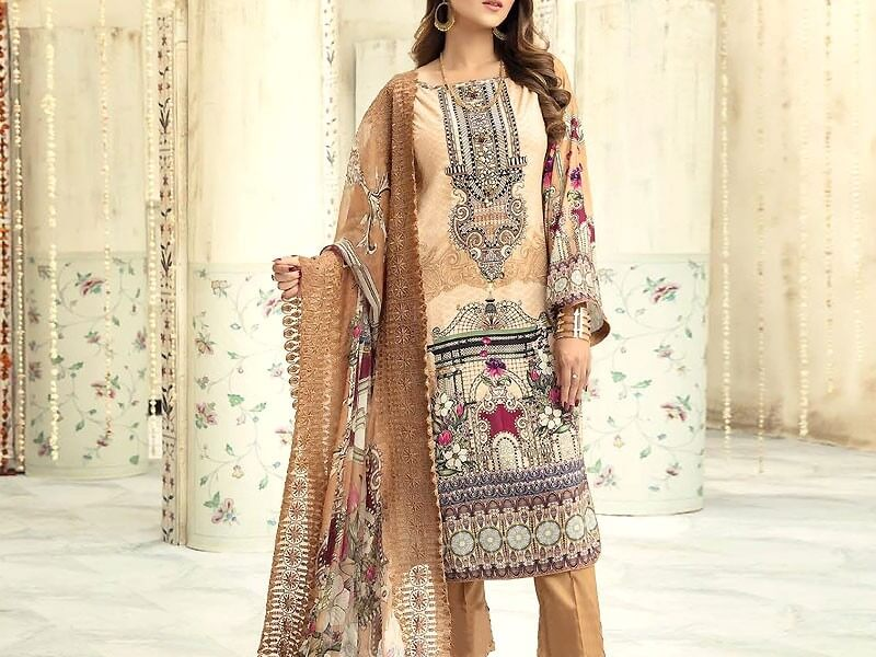 Embroidered Airjet Lawn Collection with Chiffon Dupatta in pakistan sanwarna.pk