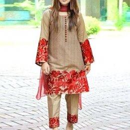 2-Pcs Scroll Embroidered Lawn Dress Price in Pakistan sanwarna.pk