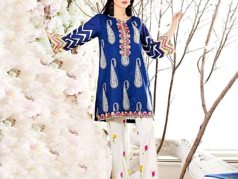 Designer 2-Pcs Embroidered Lawn with Embroidered Trouser in pakistan sanwarna.pk