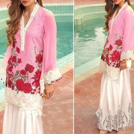 2-Pcs Sequins Heavy Embroidered Lawn Dress UnStitched in pakistan sanwarna.pk