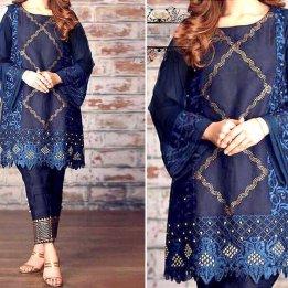Heavy Full Embroidered Lawn 2-Pcs Dress in pakistan sanwarna.pk