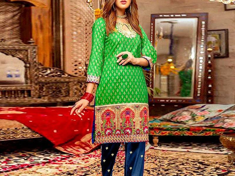 2-Pcs Heavy Embroidered Cotton Dress in pakistan sanwarna.pk