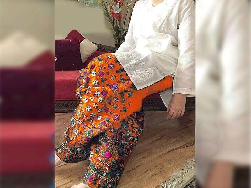 2-Pcs Embroidered Cotton Lawn Dress with Orange Phulkari Embroidered Trouser in pakistan sanwarna.pk