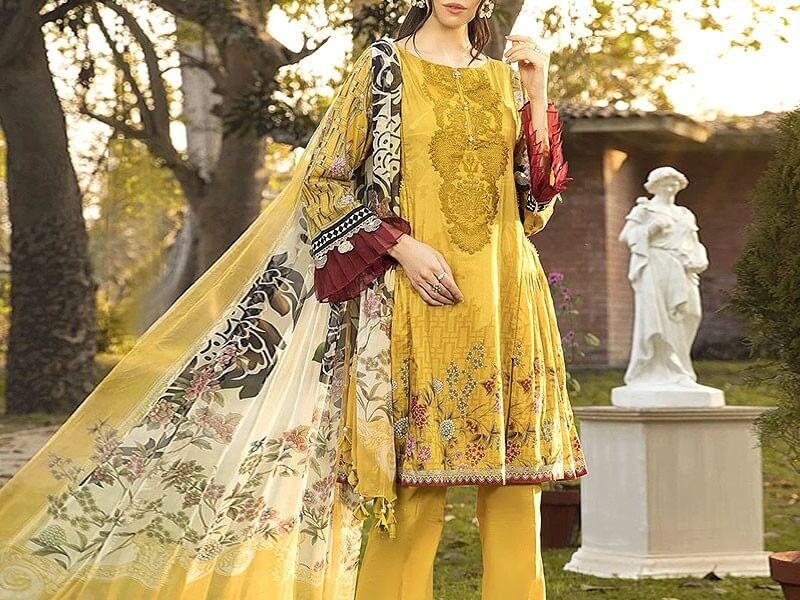 Designer Embroidered Yellow Lawn Dress in pakistan sanwarna.pk