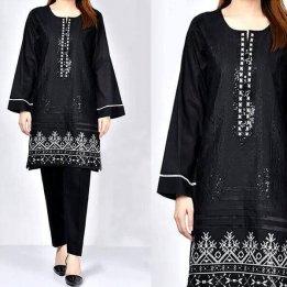 2-Pcs Sequins Embroidered Black Lawn Dress in pakistan sanwarna.pk