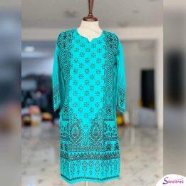 blue digital printed block linen kurti design 2021