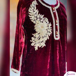 Red Stylish Embroidered Velvet Kurtis