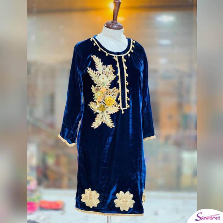 Embroidered Velvet Kurti in Blue Design 2021 sanwarna.pk