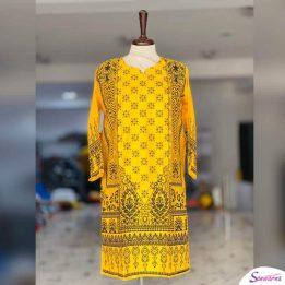 yellow linen kurti online in pakistan