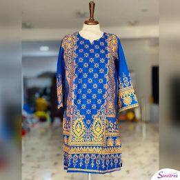 blue linen kurti design 2021 in Pakistan