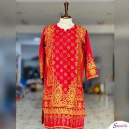 red and yellow neck kurti design 2021 in Pakistan sanwarna.pk