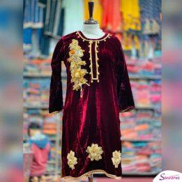 embroidered velvet stitched kurties in Pakistan sanwarna