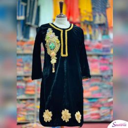 Embroidered Velvet stitched Kurti from sanwarna.pk