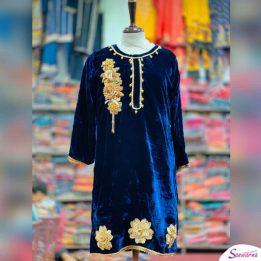 embroidered velvet stitched kurtis 2021 sanwarna